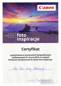Certyfikat Komputronic & Canon