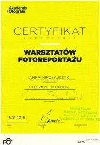 certyfikat Akademia Fotografii 2015